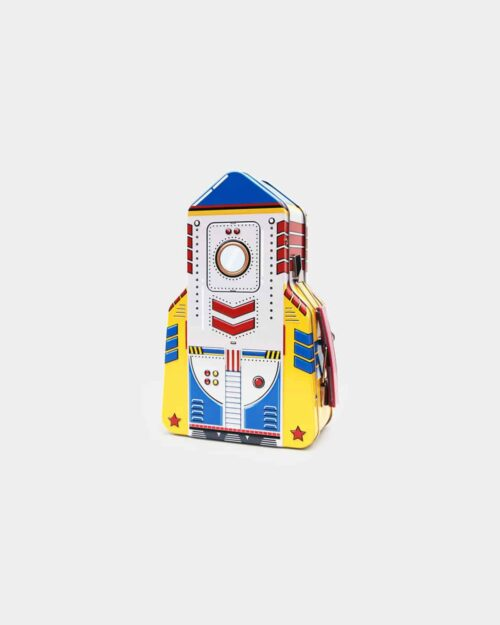 Colorful tin lunchbox in the shape of a rocket