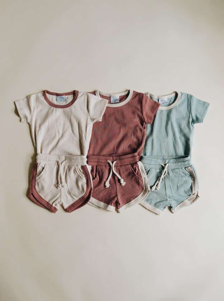 Flat lay of kids vintage shorts