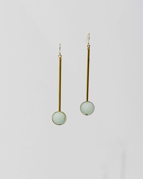 Brass earrings with multiple stone color options