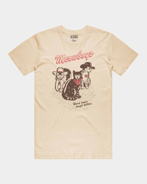 Natural shirt with brown and coral print of cats in cowboy hats that says meowboys