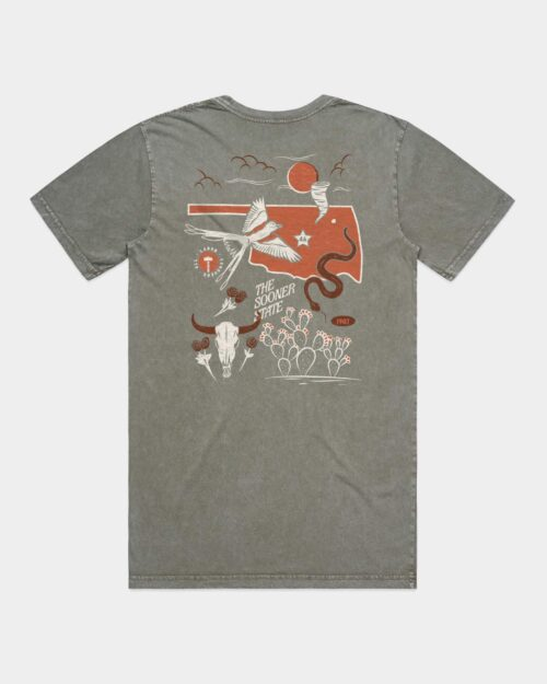 Moss Gree Tee with Oklahoma on it and some state landmarks