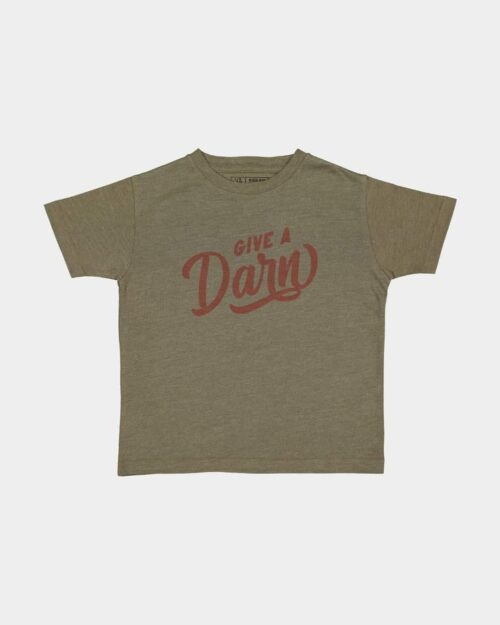 Army green give a darn kids tee.