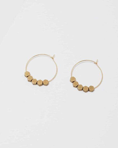 circular brass earrings with hexagon pendants
