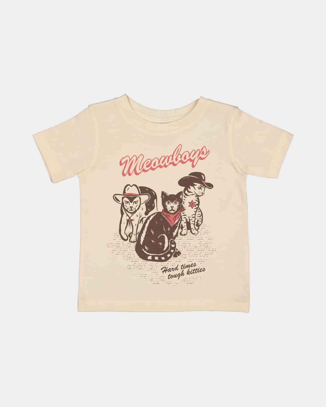 a natural kids shirt with a coral and brown print of cats wearing cowboy attire