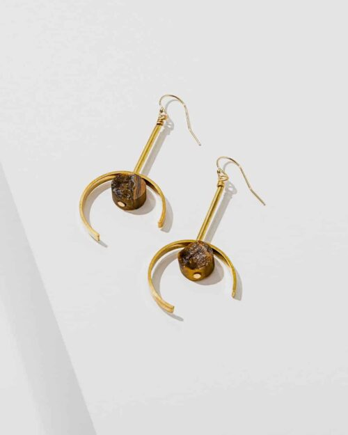 brass earrings with tiger eye stones