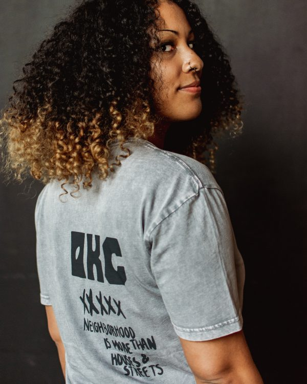 Hand printed custom tee for Jabee's East Side collection.