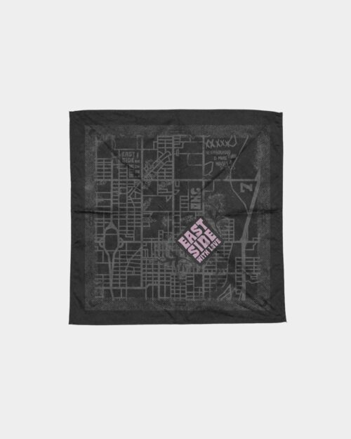 Hand printed custom bandana for Jabee's East Side collection.
