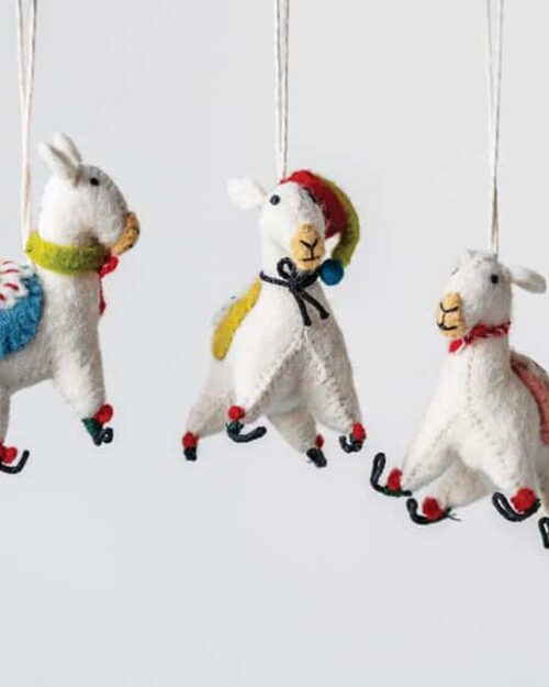 Wool Felt Embroidered Llama Ornament