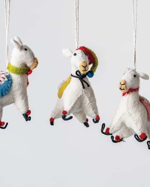 Wool Felt Embroidered Llama Ornament
