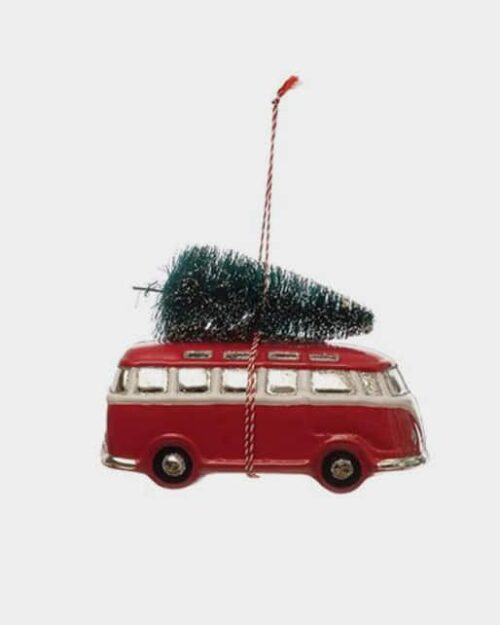 Retro Holiday Van Glass Ornament