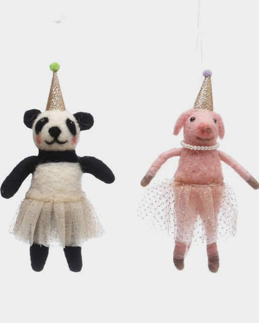 Wool Felt Party Animal Ornament