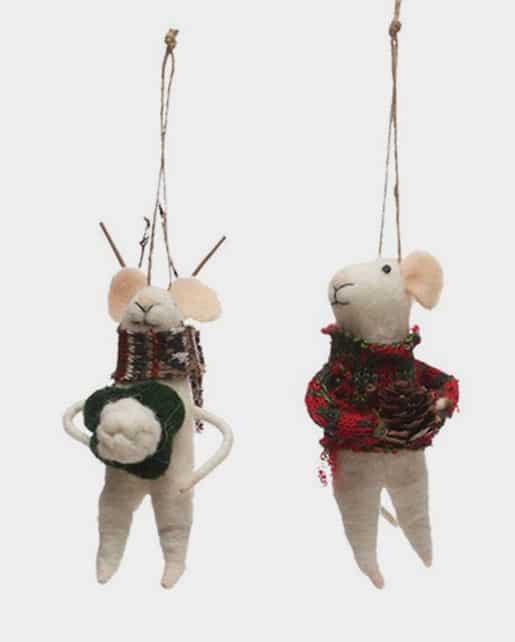 Wool Felt Caroling Mouse Ornament