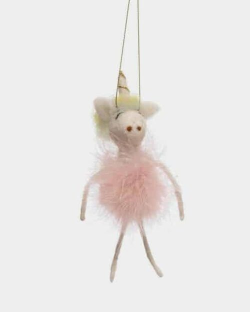 Wool Felt Ballerina Unicorn Ornament