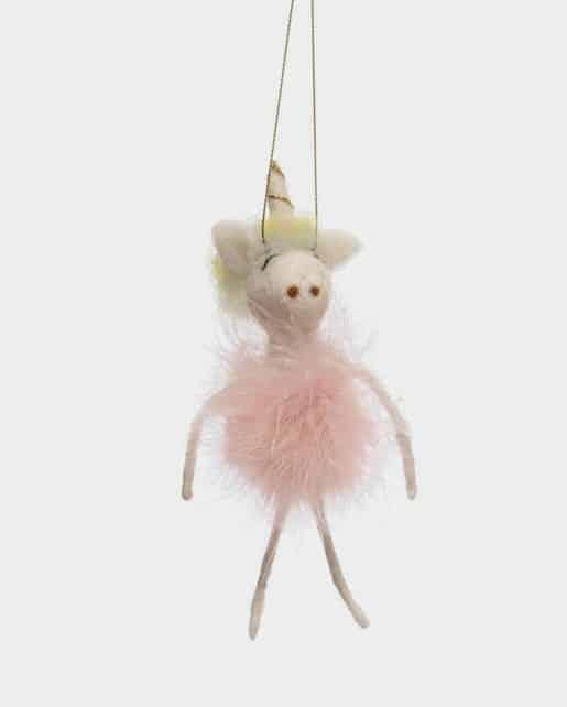 Wool Felt Ballerina Unicorn Ornament