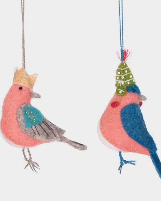 Wool Felt Embroidered Bird Ornament