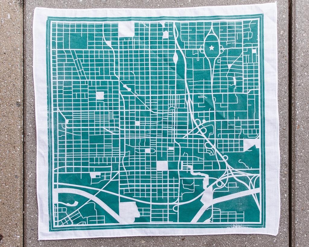OKC Street Map Bandana White