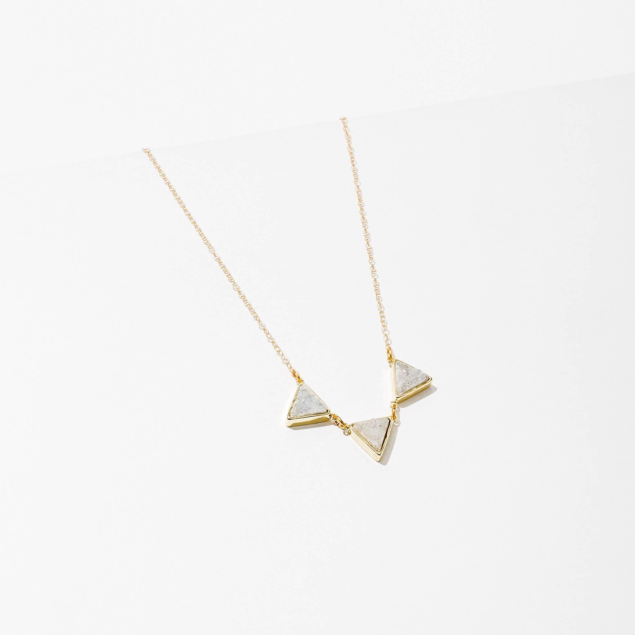 Tri Drusy Necklace White