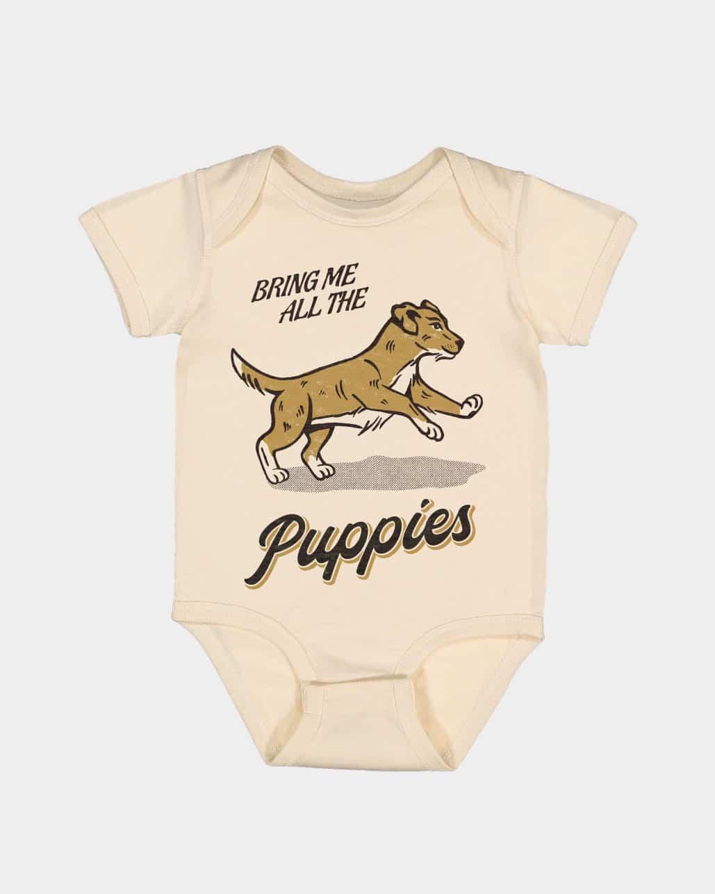 Bring Me Puppies Kids Onesie Natural