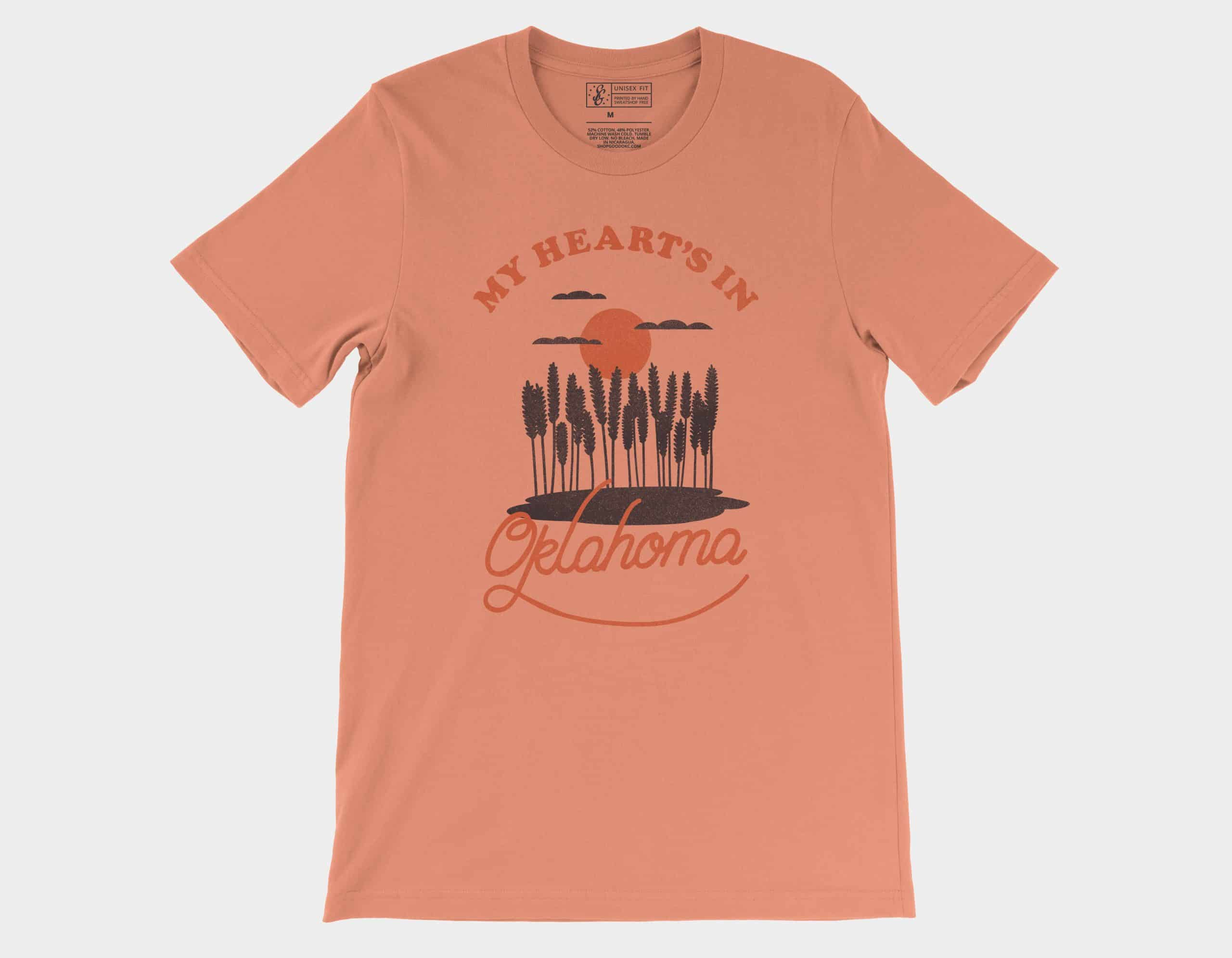 My Heart's In Oklahoma Tee Sunset