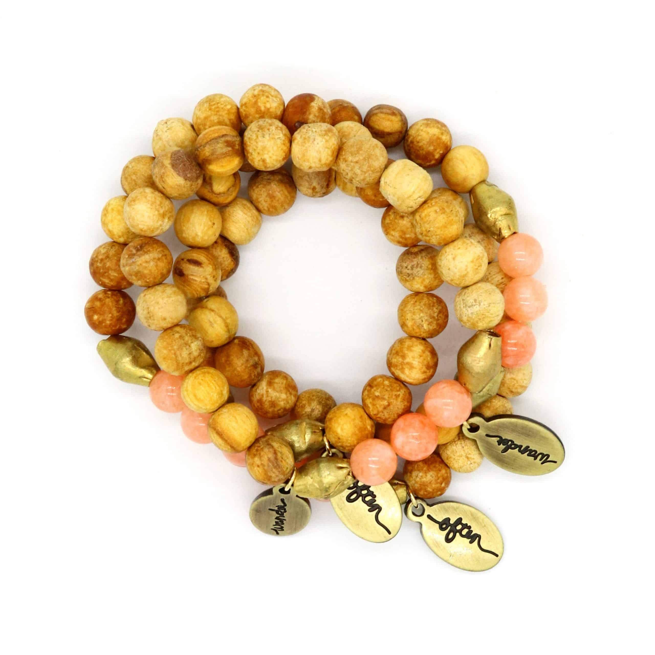 Beaded Bracelet – Palo Santo + Peach Jade