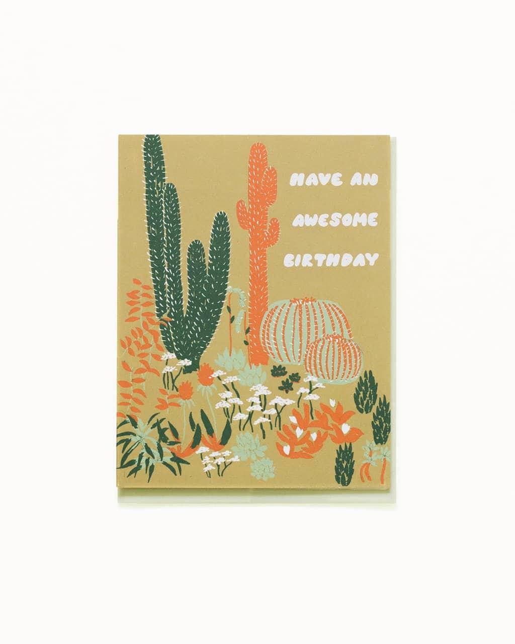 Cacti Awesome Birthday Greeting Card