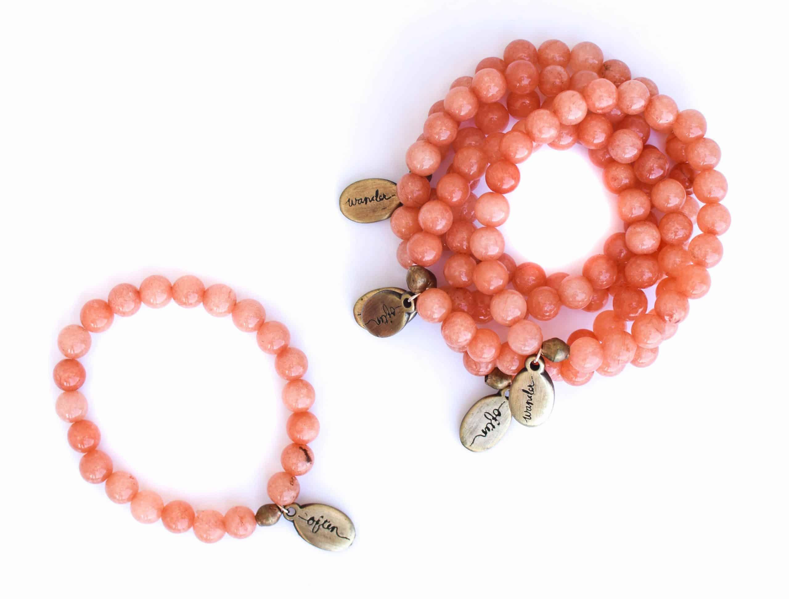 Beaded Bracelet – Peach Jade